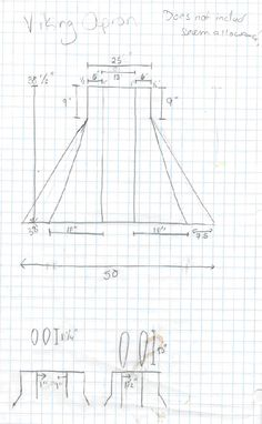 Apron cutting layout - 10th C Danish Viking Overdress by Finna Halfdansdottir (use internet archive to find article http://www.earlyperiod.com/articles/viking-overdress.php )