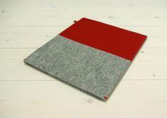 IPAD AIR SLEEVE red and grey gray felt  red door WestermanBags