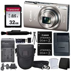 Canon PowerShot ELPH 360 HS Digital Camera (Silver) + Black Point & Shoot Case + AC/DC Travel Charger & Replacement Battery + Transcend 32GB UHS-I U1 SD Memory Card + Top Value Accessories! Price: $219.95 >>#screenprotector >>>#mobileshop >#computertips Follow us @fastmart24 #fastmart24