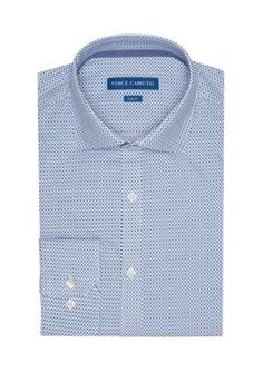 Vince Camuto InkWhite Geo Print Slim-Fit GEO Print Dress Shirt