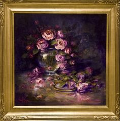 "Oil painting ""Tumbling Roses"" 30""x30"" by artist Nora Kasten"
