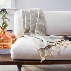 Upgrade your cozy nights in with the Belham Living Gray Striped Decorative Throw. This warm throw is crafted from a blend of cotton and polyester to create a piece perfect for wrapping up in. Farmhouse Style Kitchen, Modern Farmhouse Style, Walmart Home, Modern Outdoor Living, Summer Bedroom, Warm Grey, Gray, Decorative Throws, Coastal Decor