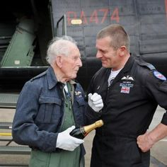 An amazingly emotive photo from the Battle of Britain fly past memorial in June 2012. Picture is of a 1945pilot, Ron Clark with Squadron Leader Smith of 2012 RAF and in charge of the memorial. My passion is keeping these memories alive! Lest we forget.