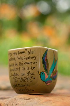 """Peter Pan """"It is to listen to the stories"""" J.M. Barrie Quote Mug - Sm-Med olive green cup, hand painted with swallows - birds on Etsy, Sold"""
