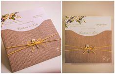 Convite rústico e floral