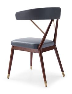 KAI for CULTfurniture by Michaela Reysenn - Wooden Dining Chair, Faux Leather Upholstered Seat, Grey
