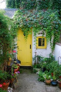 Love the yellow door and window.