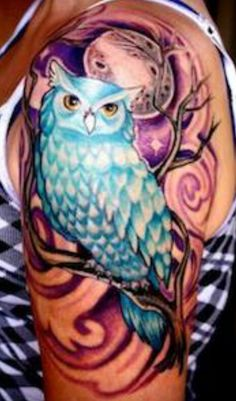 Owl tattoo. Different colors and placement. I like the owl, tree and moon