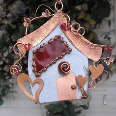 Sweetheart Fairy House - Stained Glass - Heart - Copper Steel Crystal - Mixed Media Sculpture - Metal Art on Etsy, $62.00