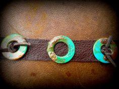 Acid Seaweed MultiRinged Chocolate Leather by MetalChocolate, $26.00