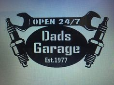 Dads garage sign with date he became a dad/father by CFabMetalWorx
