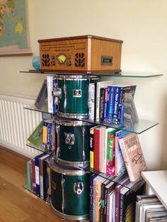 Drum shelves, instruments, repurposing, bookshelves