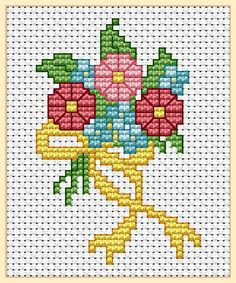 "EMS Designs for Beginners ""First Bouquet Project"" 3 pages Cross Stitch Tree, Cross Stitch Boards, Mini Cross Stitch, Cross Stitch Needles, Beaded Cross Stitch, Cross Stitch Flowers, Cross Stitch Embroidery, Embroidery Patterns, Cross Stitch Designs"