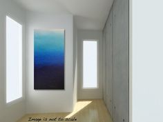 Large BLUE OMBRE Textured Abstract Painting- Modern Contemporary Canvas Acrylic Art - Ocean Reflections IX: 18 x 36 Vertical - Free Shipping...