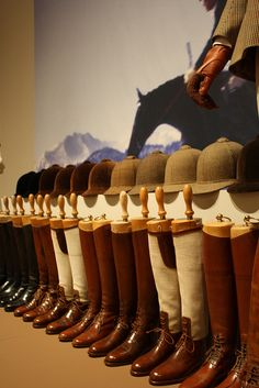 Anne Bonfoey Taylor's riding boot collection. Ann Bonfoey Taylor's riding boots. Didn't know they made all these beautiful helmet & boot colors. - Art Of Equitation Equestrian Decor, Equestrian Boots, Equestrian Outfits, Equestrian Style, Equestrian Fashion, Riding Gear, Horse Riding, Riding Boots, Riding Clothes