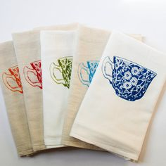 Tea Cup Flour Sack Dish Towel by theheated on Etsy