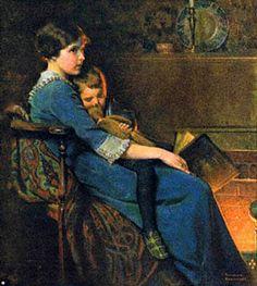 Bedtime by Norman Rockwell. Beschrijf hoe de bedtijd in jouw jeugd werd ingeluid? Hoe deed je het bij je eigen kinderen?