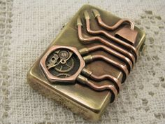 Steampunk modified Zippo windproof lighter. Made by steamworkshop,