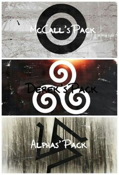 Scott McCall's Wolf Pack Symbol, Derek Hale's Wolf Pack Symbol and The Alpha Pack Symbol.