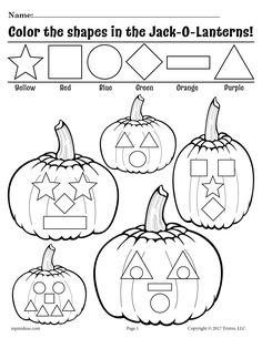 Help your students learn their shapes with these fun Jack-O-Lantern shapes worksheets! These fall themed shapes coloring pages will help your students not only get familiar with shapes, they will also help with color recognition and fine motor skills! Jack-O-Lantern Shapes Coloring Page With Color Coded Key Halloween Worksheets, Halloween Activities, Autumn Activities, Toddler Activities, Fall Preschool, Preschool Learning, Preschool Activities, Preschool Shapes, Kindergarten Shapes