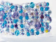 Glittery Beaded Cuff Bracelet  Knitted Wire Cuff by beadedwire