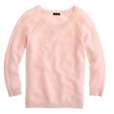 J.Crew Collection cashmere open-stitch raglan sweater ($180) ❤ liked on Polyvore featuring tops, sweaters, shirts, shirt sweater, pink top, open-knit sweater, raglan sweater and pink sweater