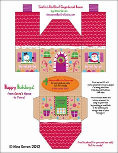 Jane of all Trades: Free Gingerbread Printables Printable Box, Free Printables, Christmas Paper, Christmas Holidays, Xmas, Christmas Houses, Christmas Ideas, Paper Toys, Paper Crafts