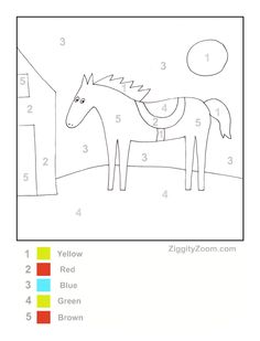 printer version Horse Printable Color by Number *DL* Color Worksheets For Preschool, Free Worksheets, Kindergarten Worksheets, Color By Number Printable, Winter Words, Horse Camp, Horse Party, Horse Crafts, Farm Theme