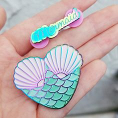 """2 gorgeous rainbow metal pins for the mermaid enthusiast in your life!Both 1.5""""2 pin backs"""