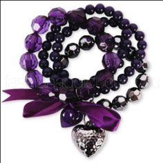 purple bracelets sans hearts & mixed with other colored bracelets