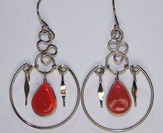 Orange Alpaca Silver Earrings Orange Earrings by AndlyShop on Etsy