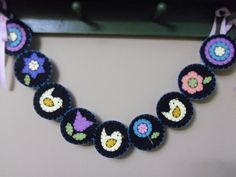 Penny Rug Style Garland Spring Easter Chicks and Flowers.