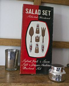 Vintage wooden and ceramic salad servers (fork & spoon), salt & pepper shakers and mustard pot with spoon. Beautiful floral pattern on each item. Immaculate condition (looks unused). In original box (some slight wear). Box Dimensions: 32 cm x 15 cm x 5 cm Salt Pepper Shakers, Fork, Spoon, Mustard, Salad, Etsy Shop, Messages, Ceramics, The Originals