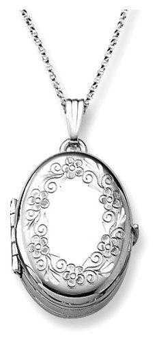 """Sterling Silver Engraved Oval 4-Picture Locket, 18"""""""