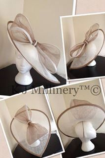 Nude and cream oversized bow hatinator #kjmillinery