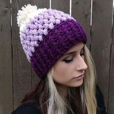 Guys. GUUUUUYYYSSS.  This pretty baby has been waiting for almost 2 weeks for it's photo-op, and I finally decided to do my makeup and get it over with.  I'm so happy to finally get it listed!  Introducing the Ombré Puff Beanie! In dark purple, lavender and cream. I'm in loooove.  First person to buy one tonight will have it shipped tomorrow morning!