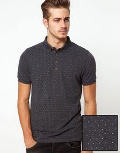 ASOS Polo Shirt With All Over Polka Dot