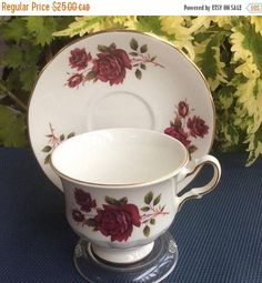 ON SALE Queen Anne by Ridgway 8626 with Red Roses Bone China