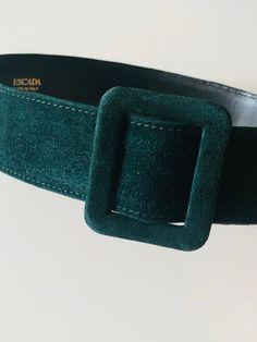 Escada belt vintage Bottle green suede leather belt women | Etsy