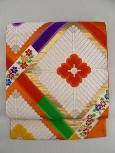 Persimmon Rokkaku Obi, Multiple Color Matsubishi Lattice Pattern / 柿色地 多色の松菱格子柄 六通袋帯 【リサイクル着物・アンティーク着物・帯の専門店 あい山本屋】#Kimono #Japan