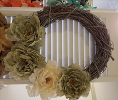 Grapevine Wreath with Vintage Lace Flowers . Homemade Wreaths, Front Door Decor, Lace Flowers, Vintage Lace, Grapevine Wreath, Grape Vines, Bows, Handmade, Arches