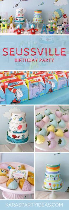 Seussville Birthday Party via Kara's Party Ideas - KarasPartyIdeas.com #drseussparty #karaspartyideas #drseusspartyideas #catinthehatparty #kidspartyideas