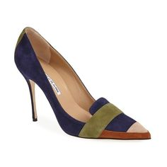 Manolo Blahnik 'Durut' Suede Pointy Toe Pump (Women) Navy 4.5US / 35EU