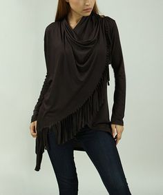 Look at this #zulilyfind! Chocolate Fringe-Accent Drape Cardigan - Women #zulilyfinds