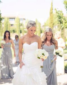 Gray Bridesmaids Dress. // simple yet so pretty