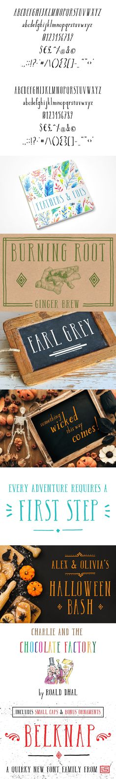 Belknap is a beautifully hand-drawn and versatile display font family. It consists of carefully drawn characters with rough edges and a semi-wobbly look that Alex And Olivia, Halloween Fonts, Small Caps, Chocolate Factory, Holiday Themes, Font Family, New Fonts, How To Make Ornaments, Project Yourself