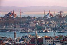 Golden moment in Istanbul. In the background you can see the Blue Mosque and the Hagia Sophia.
