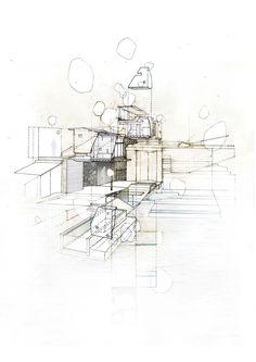 Exploded Axonometric drawing. Pencil on velum- Valencia
