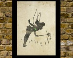 Tinkerbell Inspired Silhouette: 8x10 Art Print, With Heart Studios - Disney, Nursery, Gift, Poster, Vintage