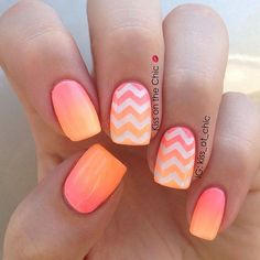 19 Gorgeous Ombre Nails - Peach ombré nails with chevron ombré accents is beyond gorgeous.